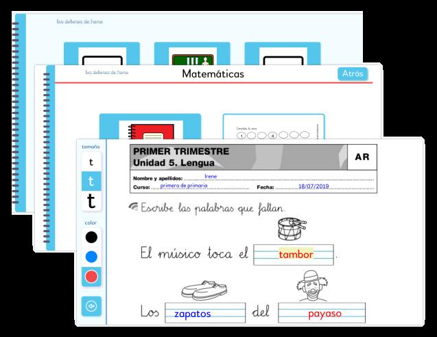 """Pantallazo de la app donde aparece """"Primer trimestre. Unidad 5 Lengua. Son varias frases con letra escolar en las quye se debe cumplimentar la palabra que falta, indicada por un dibujo."""
